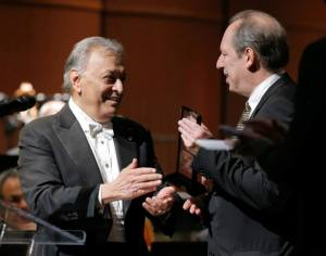 Conductor Zubin Mehta presents Hans Zimmer with a Lifetime Achievement Award — at Wallis Annenberg Center for the Performing Arts.